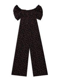 MISS SELFRIDGE Black Spot Print Shirred Culottes Jumpsuit