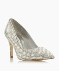 Dune London Blinding T Silver Jewel Embellished Stiletto Heel Court Shoe | occasion courts