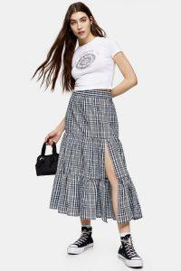 TOPSHOP Blue Check Tiered Split Midi Skirt