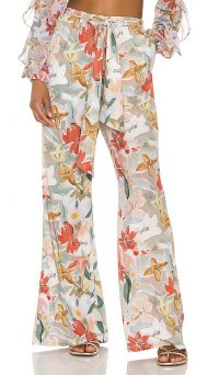 BOAMAR Coastal Breeze Olas Pants Foliage Print | flowery tie waist trousers