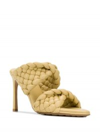 BOTTEGA VENETA woven-strap mid-heel mules in pale yellow