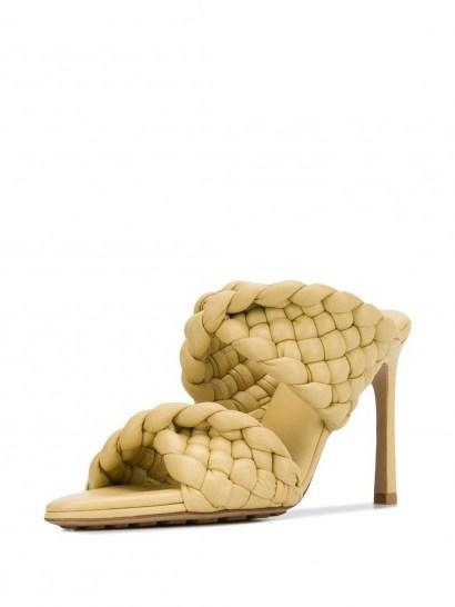 BOTTEGA VENETA woven-strap mid-heel mules in pale yellow - flipped