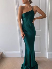 PRETTY LAVISH BRIDESMAIDS AMELIA MAXI DRESS MATTE EMERALD GREEN – one shoulder slip dresses