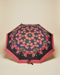 TED BAKER NIIKOLE Bright floral print umbrella navy / dark blue flower printed umbrellas