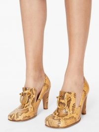 BOTTEGA VENETA Buckled python-effect leather pumps in tan brown