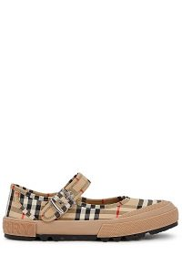 BURBERRY Elstead checked canvas flats / flat check print Mary Jane shoes