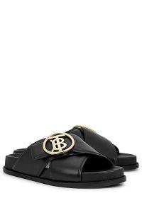 BURBERRY Wallsall black leather sliders ~ designer logo slides
