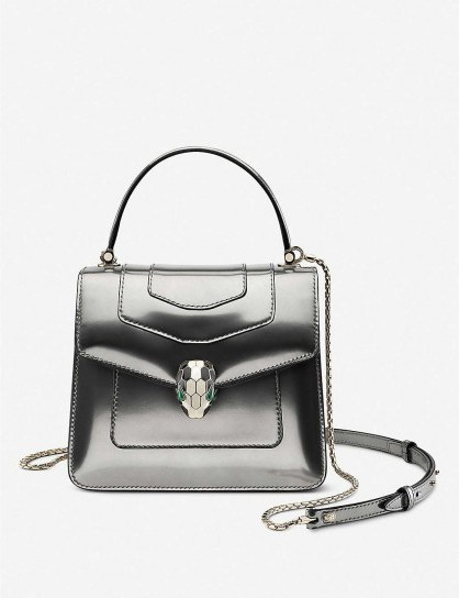 BVLGARI Serpenti Forever metallic silver-leather cross-body bag – glamorous handbags - flipped