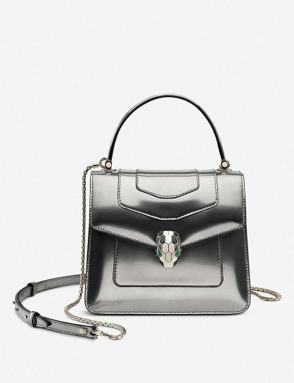 BVLGARI Serpenti Forever metallic silver-leather cross-body bag – glamorous handbags