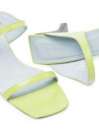 BY FAR Paola 55mm double strap sandals / lime green leather mules / contemporary heels