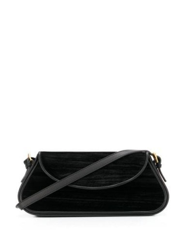 BY FAR Uma black velvet shoulder bag | elongated bags - flipped