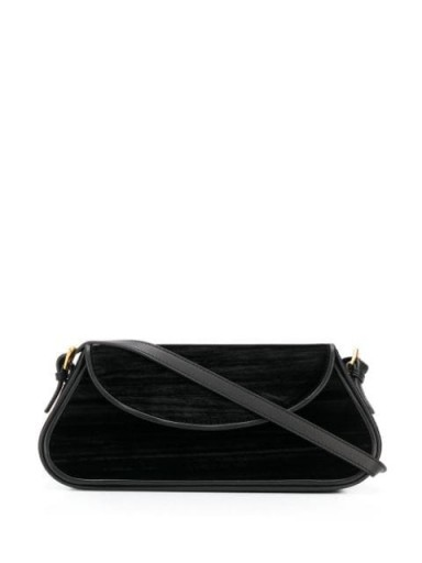 BY FAR Uma black velvet shoulder bag | elongated bags