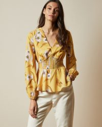 SANIYAH Cabana smocked waist blouse / yellow waist fitted blouses