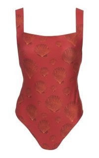 Agua by Agua Bendita Café Nacar Printed Swimsuit Red / shell print swimwear