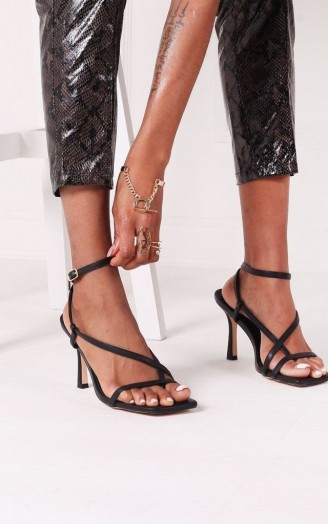 The Fashion Bible CARNABY – BLACK NAPPA STRAPPY SQUARE TOE HEEL WITH TOE POST | multi-strap going out heels