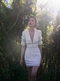 Reformation Cassatt Dress Ivory | deep V-front mini dresses