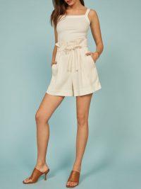 REFORMATION Castel Short Cream ~ chic paperbag shorts