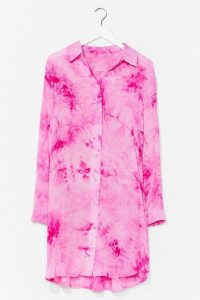NASTY GAL Cause a Stir Tie Dye Shirt Dress / pink longline shirts