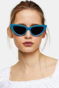 TOPSHOP CECE Teal Feline Contrast Sunglasses | blue vintage look frames