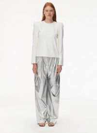 tibi Chalky Drape Sculpted Shoulder Top White | puff shoulders