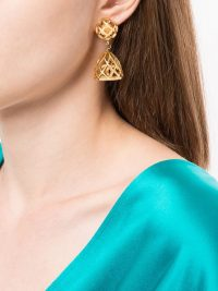 CHANEL PRE-OWNED birdcage CC dangling earrings | gold plated cut-out drops