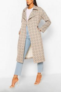 boohoo Check Double Breasted Belted Trench