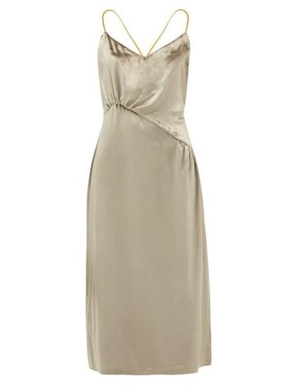 SSŌNE Christie gathered velvet midi dress taupe-silver