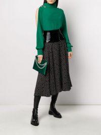 CHRISTOPHER KANE patent waistband midi skirt