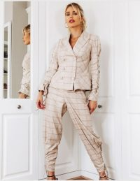 FOREVER UNIQUE Classic Check Suit With Sleeve Detail