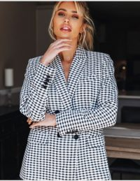 FOREVER UNIQUE Classic Houndstooth Suit – check print jacket – checked trouser suits