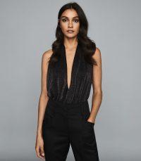 REISS CLEONA METALLIC HALTERNECK BODYSUIT BLACK ~ deep plunge-front bodysuits