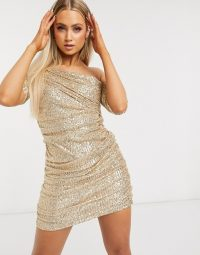 Club L London sequin drape one shoulder mini dress in gold – shimmering going out fashion