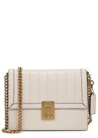 COACH Hutton ivory leather shoulder bag / gold-tone chain strap flap bags
