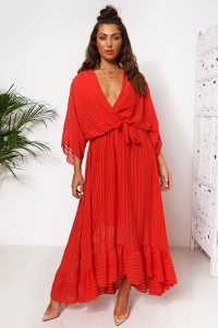 The Fashion Bible COCO RED WRAP FRONT MAXI DRESS