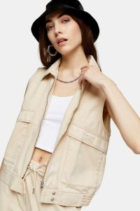 CONSIDERED Ecru Zip Utility Gilet – neutral sleeveless jacket