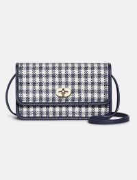 DRAPER JAMES Convertible Straw Crossbody Nassau navy multi gingham | small checked bags