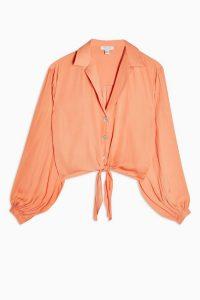 TOPSHOP Coral Satin Tie Front Shirt – blouson sleeve shirts