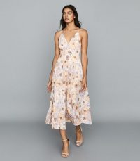 Reiss CORINNE FLORAL PRINTED MIDI DRESS PINK – front slit summer dresses