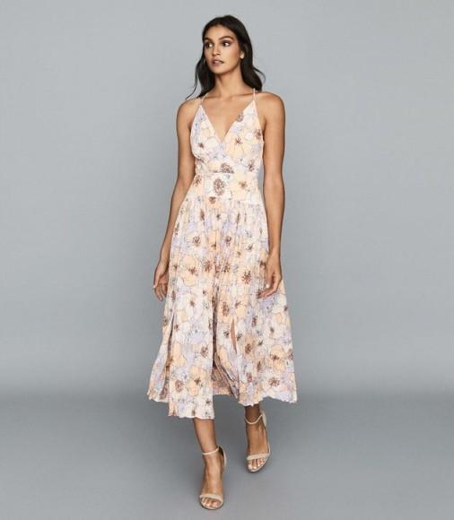 Reiss CORINNE FLORAL PRINTED MIDI DRESS PINK – front slit summer dresses