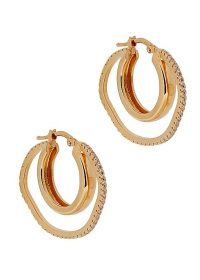 CORNELIA WEBB Distorted 24kt gold-plated hoop earrings / crystal embellished double hoops