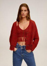 MANGO TASSY Cotton crochet cardigan burnt orange