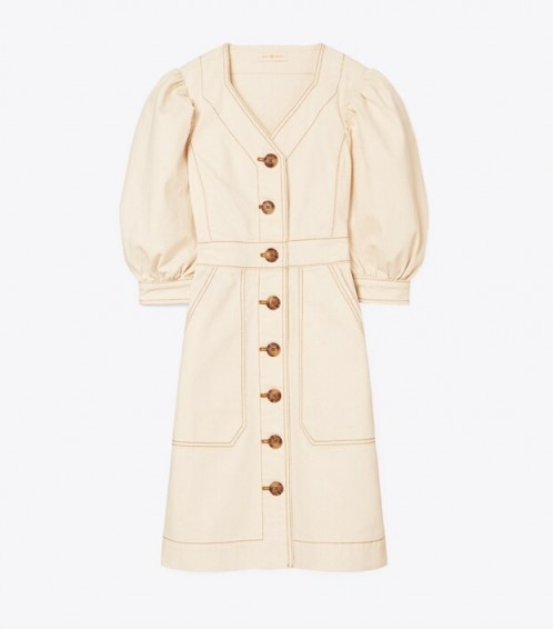 Tory Burch COTTON PUFFED-SLEEVE DRESS in RINSE / neutral puff sleeved dresses