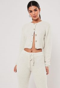Missguided cream co ord soft touch cropped cardigan