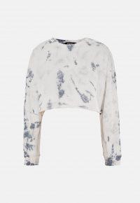 MISSGUIDED cream tie dye oversized crop sweatshirt / cropped sweat top