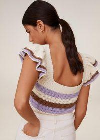 MANGO LAVANDA Crochet striped top | squate neckline knit