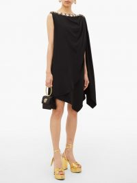 GUCCI Crystal-embellished draped cady dress ~ vintage look lbd