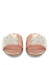 ROCHAS Crystal-embellished satin slides / luxe flats