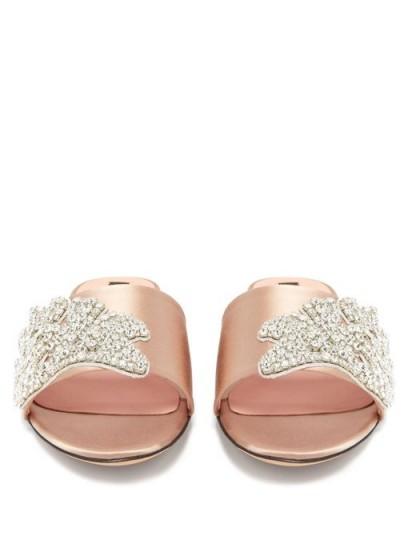 ROCHAS Crystal-embellished satin slides / luxe flats