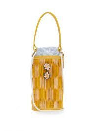 HEIMAT ATLANTICA Cupid shell-embellished reed bag / yellow summer bags