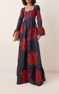 Agua by Agua Bendita Curuba Coralina Embroidered Linen Maxi Dress in Black / coral emboridery